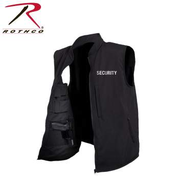 Concealed Carry Soft Shell Security Vest - Black