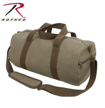Two-Tone Canvas Shoulder Duffle Bag - Vintage Style Olive with Brown Straps