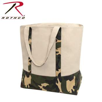 Large Camo Canvas Tote Bag