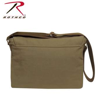 Deluxe Vintage Style Canvas Messenger Bag - Olive Drab
