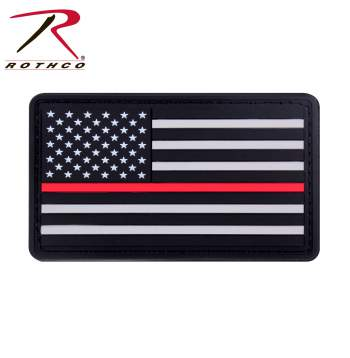 Rubber Thin Red Line Flag Patch - Hook Back