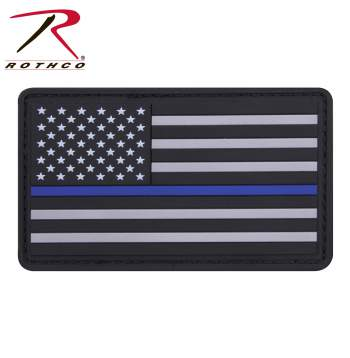 PVC Thin Blue Line Flag Patch - Hook Back