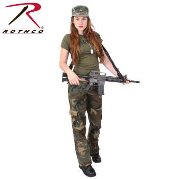 Womens Unwashed Camo Paratrooper Fatigue Pants