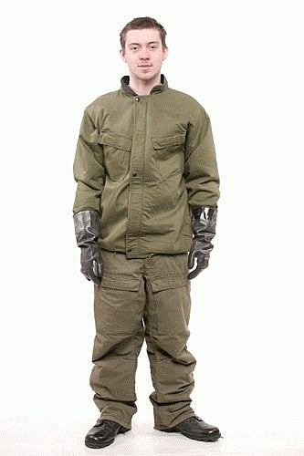 a  U.S. Army Chemical Protective suit