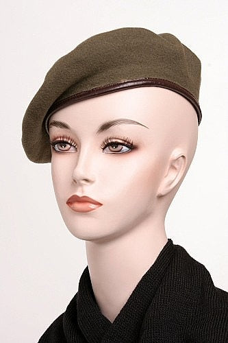 Vintage Wool Beret With Leather Trim - Belgium