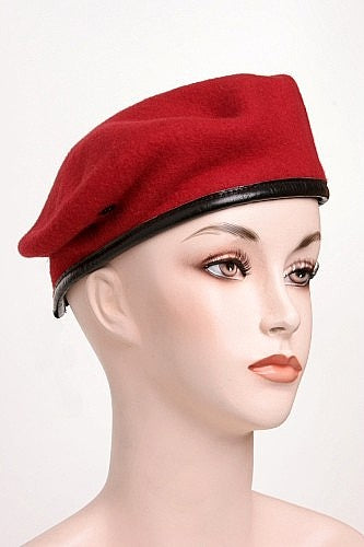 Beret Wool Red With Leather Trim