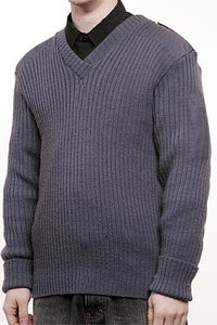 Men's Ribbed V Neck Military Pullover Sweater