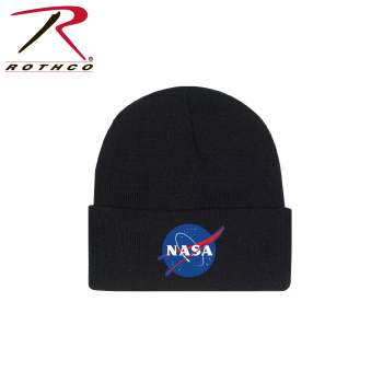 Deluxe NASA Meatball Logo Embroidered Watch Cap - Black