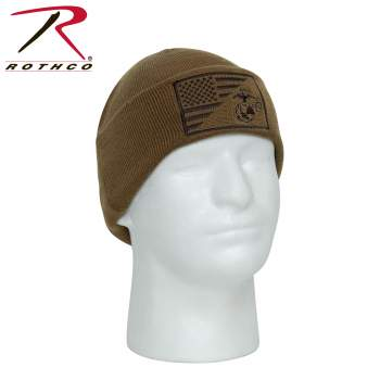 USMC Eagle, Globe and Anchor / US Flag Deluxe Fine Knit Watch Cap