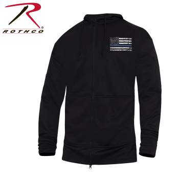 Thin Blue Line Concealed Carry Zippered Hoodie - Black