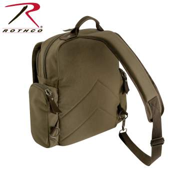 Vintage Style Canvas Sling Backpack - Olive Drab
