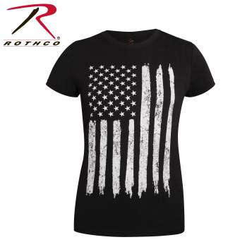 Womens Distressed US Flag Long T-Shirt