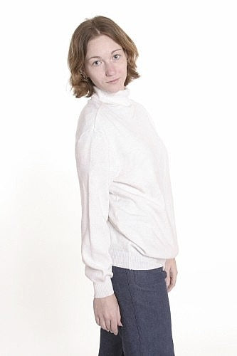 Women's Turtleneck Sweater, Naval White