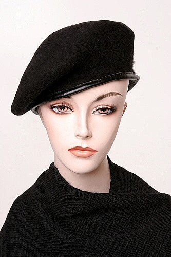 New Black Wool Beret Without Flash - U.S.A.