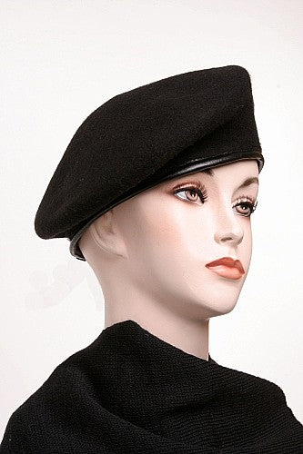 Beret Wool Black with Leather Trim