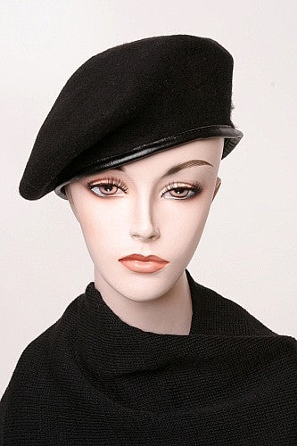 Vintage Wool Beret With Leather Trim