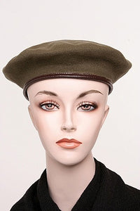 Belgian Wool Beret With Leather Trim