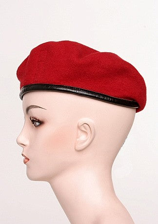 Beret Wool Red With Leather Trim -  Vintage