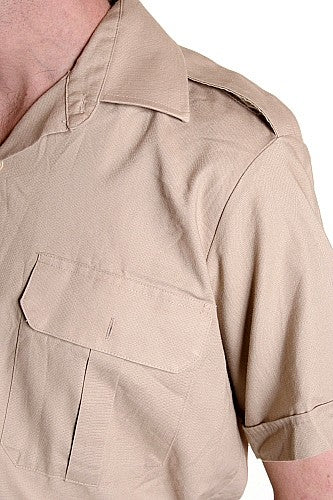 CF beige army dress shirt s-s