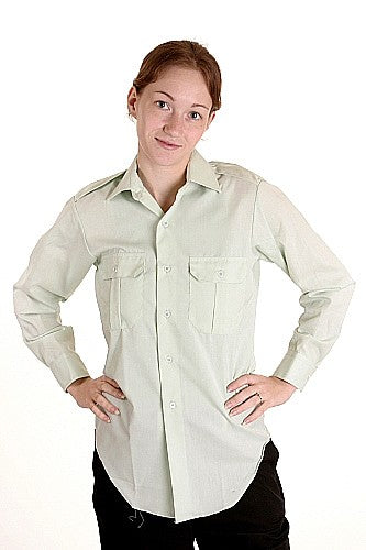 Women's Green Officers Shirt Long Sleeves - Vintage - Canadian