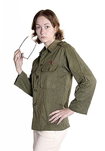 Women's Rare,Vintage Herringbone Twill Fatigue Shirt  - Korea