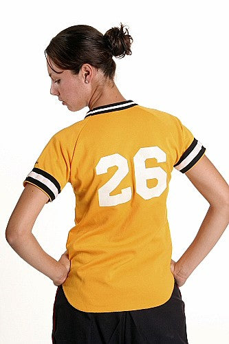 Women's ,Baseball Shirt Yellow w-Black Trim