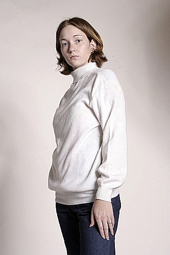 Womens Turtleneck Sweater Naval White