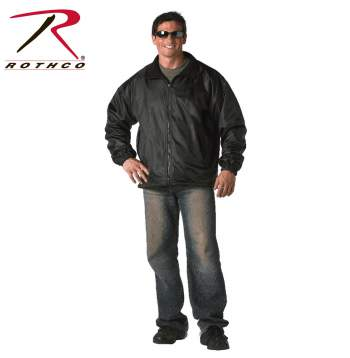 Black Reversible Fleece-Lined Nylon Jacket