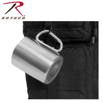 Insulated Stainless Steel Portable Camping Mug With Carabiner Handle – 15 oz