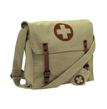Vintage Style Medic Canvas Bag With Cross