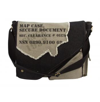 Vintage Style Canvas Two-Tone Imprinted Map Bag