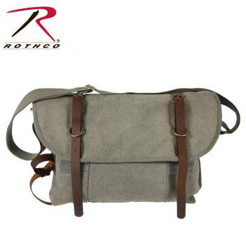 Vintage Style Canvas Explorer Shoulder Bag With Leather Accents