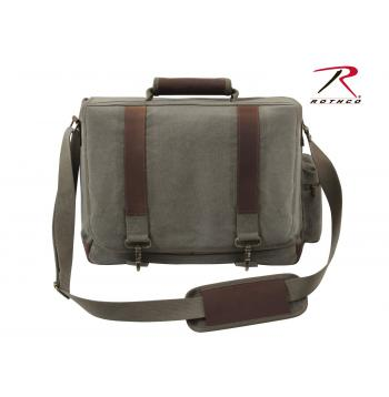 Vintage Style Canvas Pathfinder Laptop Bag With Leather Accents
