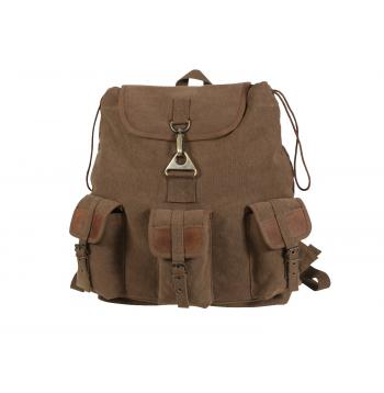 Vintage Style Canvas Wayfarer Backpack w/ Leather Accents