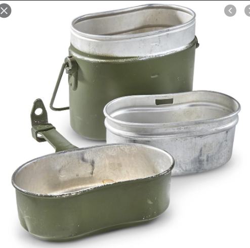 Authentic Euro Military 3 Piece Mess Kit - W.German 1980's Vintage