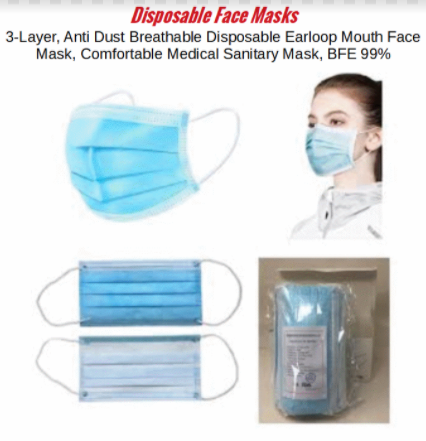 3 Layer Disposable Face Covering