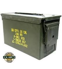 50 Cal Ammo Can, US Army. HID -POSSIBLE DUPE AND SERG'S CODE IN BOTTM -