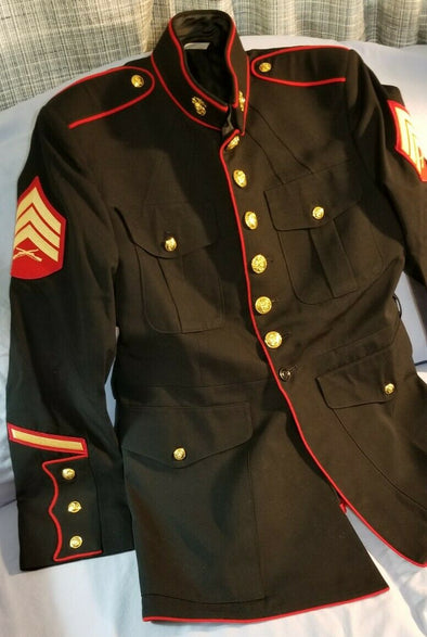Authentic USMC Dress Blue Jacket - 46R - Rare Size