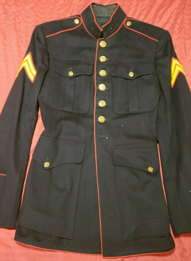 Authentic USMC Dress Blue Jacket - 39R- 1948