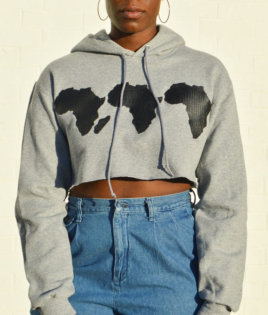 Leather Motherland Cropped Hoodie