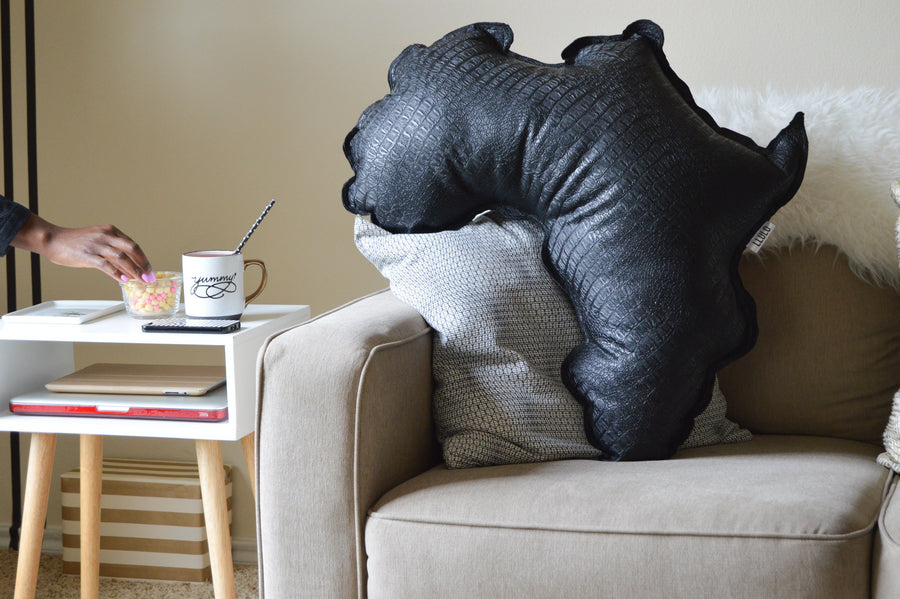 Yemi Leather Africa Shaped Pillow