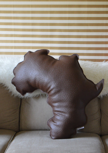 Segun Leather Africa Shaped Pillow