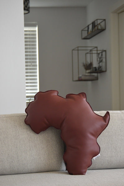Kola Leather Africa Shaped Pillow