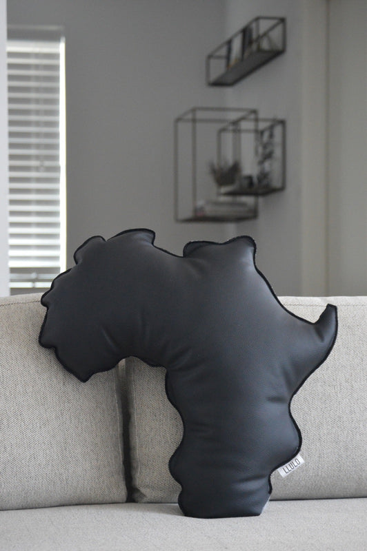 Tola Leather Africa Shaped Pillow
