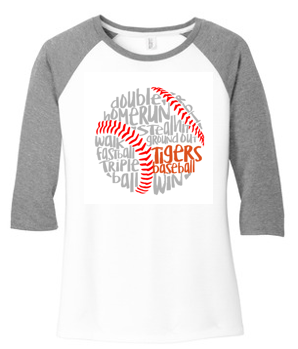 LADIES TIGER BASEBALL RAGLAN JERSEY TEE