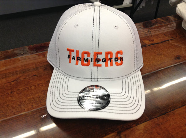 STRETCH TO FIT HAT MESH - WHITE WITH FARMINGTON TIGERS LOGO