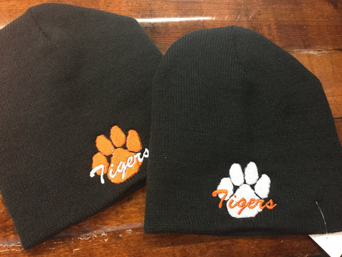 BLACK BEANIE WITH TIGER EMBROIDERY