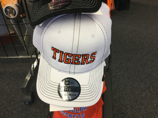 STRETCH TO FIT HAT MESH  - WHITE WITH ORANGE TIGERS