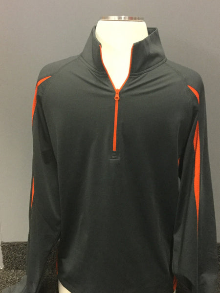 HALF ZIP COLORBLOCK PULLOVER GRAY/ORANGE