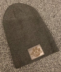 SLOUCHY BEANIE WITH LEATHER PATCH
